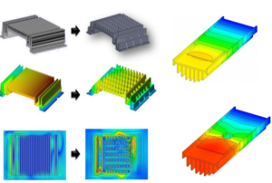 A heat sink is designed to maximize its surface area in contact with the cooling medium surrounding it, such as the air
