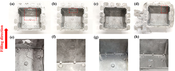 Figure 6. Castings of the 4 wt%TiB2/Al-Si-Cu-Zn composite fabricated by the HPDC at different injection velocity: (a) 0.8 m s−1; (b) 1.16 m s−1; (c) 1.8 m s−1; (d) 2.5 m s−1; (e)–(h) filling ends of the castings (a)–(d).