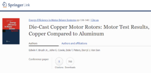 Die-Cast Copper Motor Rotors: Motor Test Results, Copper Compared to Aluminum