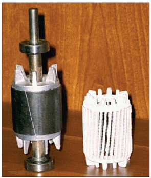 Fig. 1 – Typical aluminum rotor and squirrel cage structure after dissolution of the iron laminations.