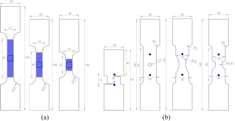 Fig. 1. Sketch of the specimens for plasticity and fracture characterization. (a) Uniaxial Tension (UT) from left to right UT60, UT40 and UT20, (b) shear (SH), Central Hole (CH), Notched tension with cut-out radius 20mm (NT20) and 6.67mm (NT6). The blue full areas on the UTs denotes the area used to obtain the axial strains, while the blue line square shows the area used for Lankford ratio determination. For the SH, CH, NT20 and NT6, the blue dots indicate the position of the global extensometer. (For interpretation of the references to colour in this figure, the reader is referred to the web version of this article)