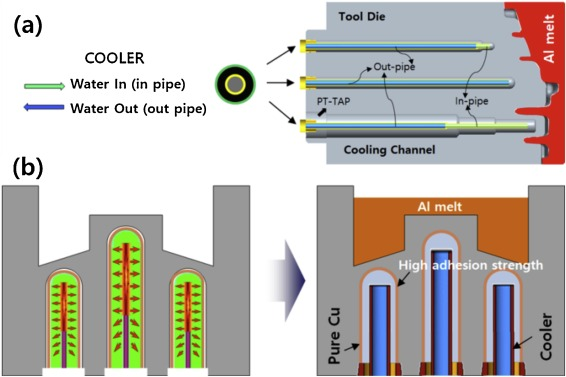 Fig. 1. (a) Die-casting mold cooling channel with cooler; (b) Schematic illustration of explosive bonding (expansion) and Cu inserted die-casting cooling channels via explosive working.