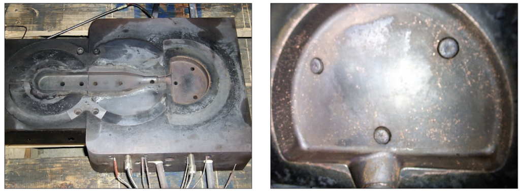 Fig. 10 – Left--Moving half of TZM and Anviloy die inserts after 940 shots. TZM is in the bottom (left) position and Anviloy in the middle  and upper positions. Right--Close up of Anviloy die insert after 500 shots