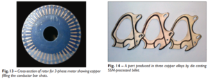 Fig. 13 – Cross-section of rotor for 3-phase motor showing copper filling the conductor bar shots. Fig. 14 – A part produced in three copper alloys by die casting SSM-processed billet.