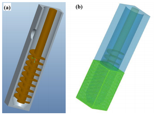 Fig. 3. The simplified 3D model (a) and generation mesh (b) of the FCS device.