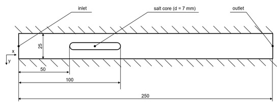 Figure 1. The geometry for investigating the slamming on a salt core in channel; all dimensions are in mm.