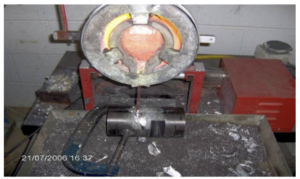 Figure 13. Pouring process to assembled mould