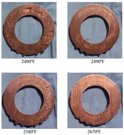 Figure 15 – Photographs of Sectioned Gate End Rings for Shots Made at Four Melt Temperatures.