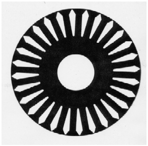 Figure 2 – Rotor Lamination for a 15 Hp   Motor – Designed for Aluminum Cage.