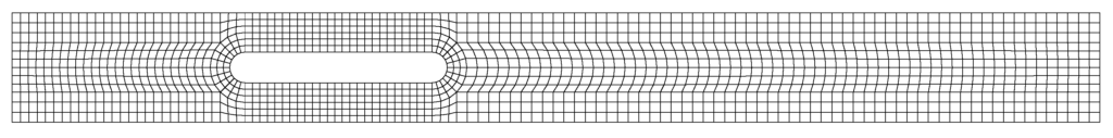 Figure 2. An example of a computational grid created with the utilities blockMesh and mirrorMesh for a mesh spacing of 2 mm.