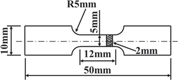 Figure 2. Dimensions of the samples for tensile testing.