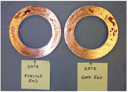 Figure 5 - Photographs of Sectioned End Rings from Copper Rotors Typical of Baseline Casting Conditions.