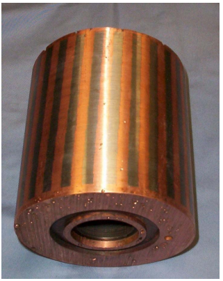 Figure 8 – Photograph of Copper Rotor Turned on  the OD to Expose the Conductor Bars